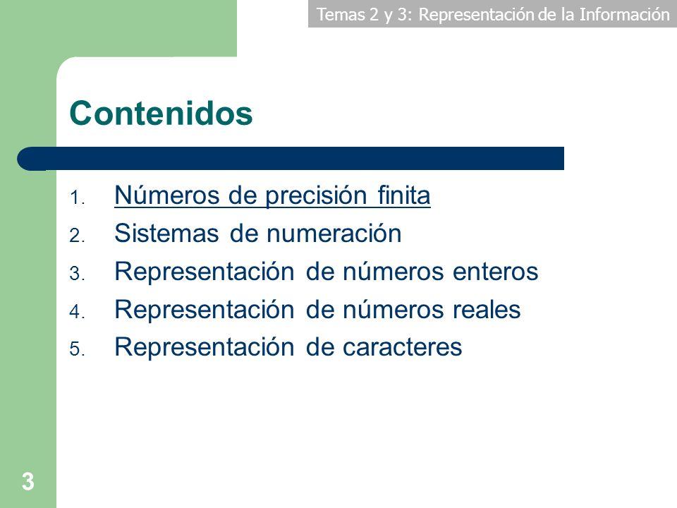 Contenidos Números de precisión finita Sistemas de numeración