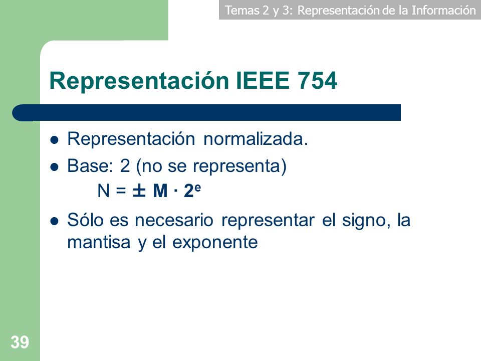 Representación IEEE 754 Representación normalizada.