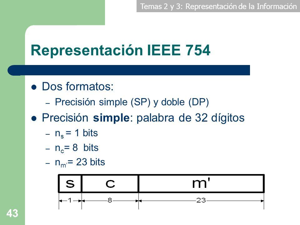 Representación IEEE 754 Dos formatos: