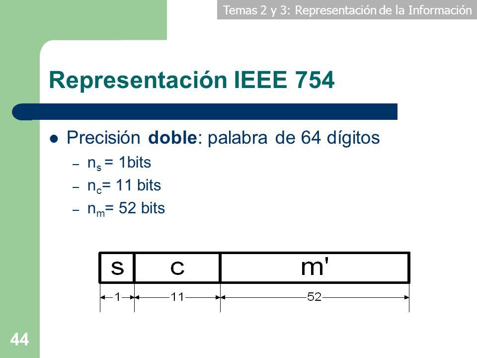 Representación IEEE 754 Precisión doble: palabra de 64 dígitos