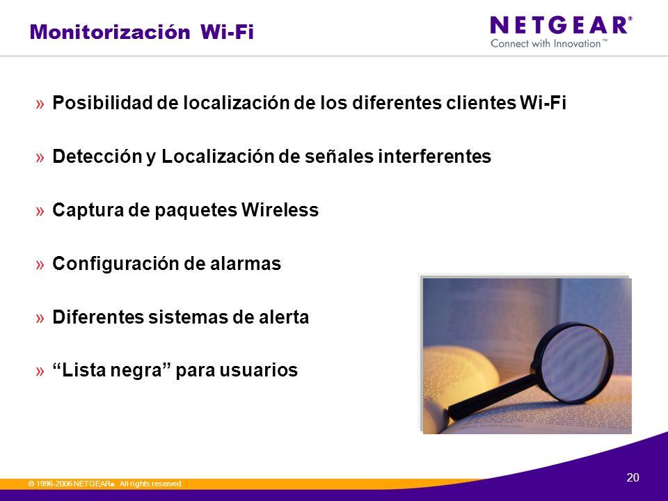 Monitorización Wi-Fi Posibilidad de localización de los diferentes clientes Wi-Fi. Detección y Localización de señales interferentes.