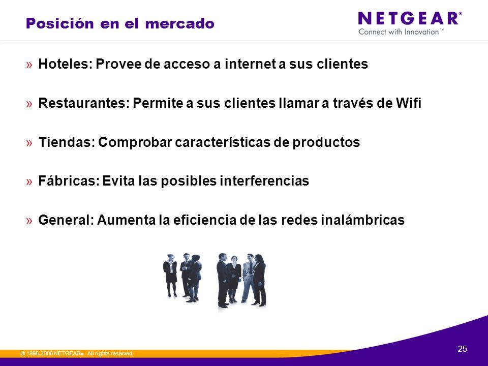 Posición en el mercado Hoteles: Provee de acceso a internet a sus clientes. Restaurantes: Permite a sus clientes llamar a través de Wifi.