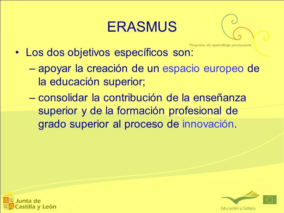 ERASMUS Los dos objetivos específicos son: