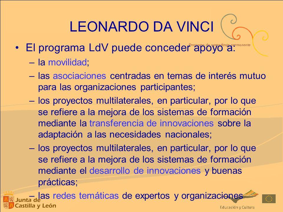 LEONARDO DA VINCI El programa LdV puede conceder apoyo a: