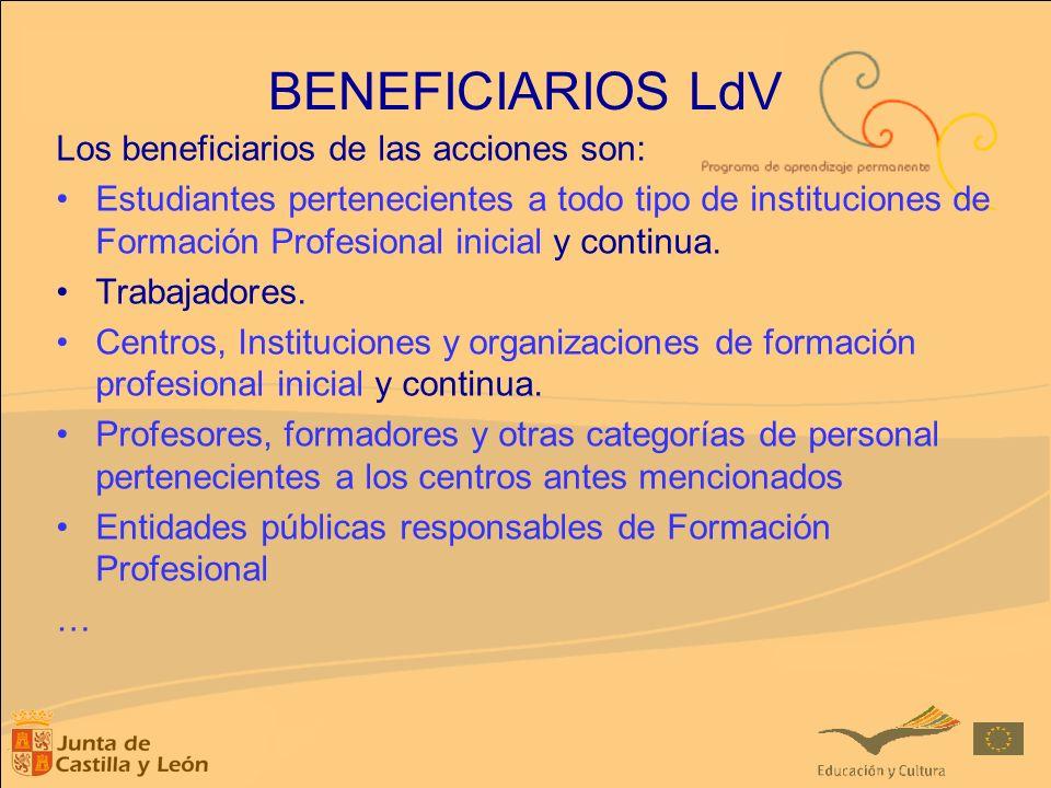 BENEFICIARIOS LdV Los beneficiarios de las acciones son: