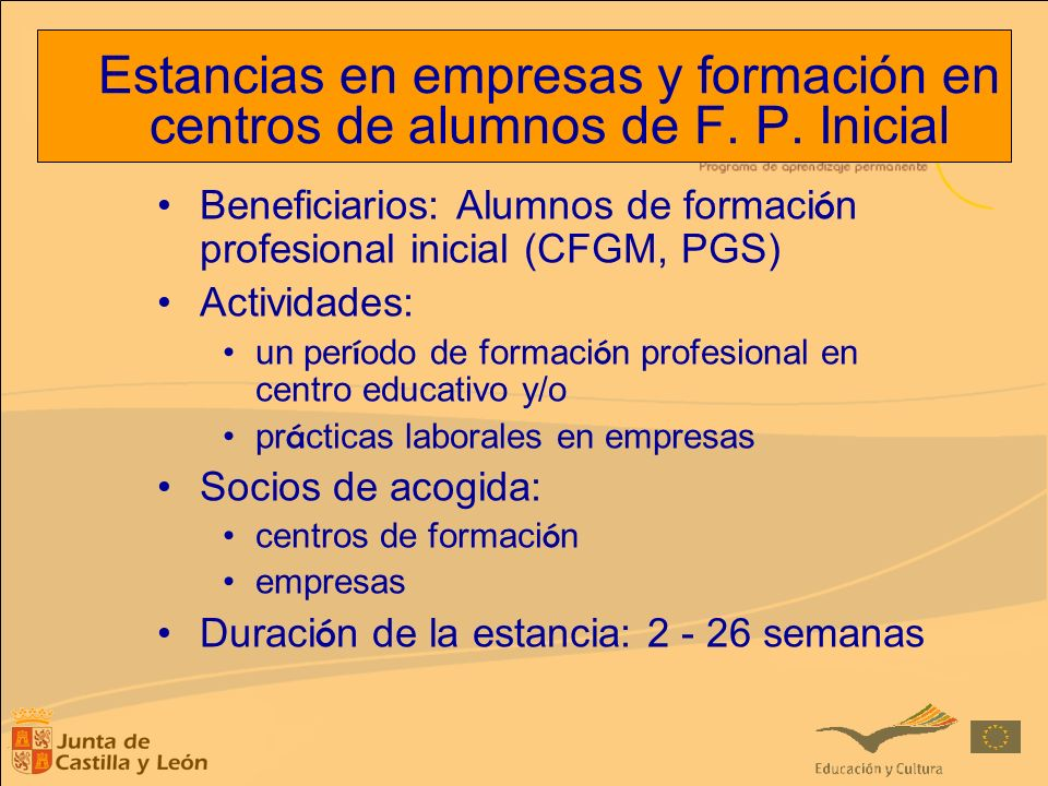 Estancias en empresas y formación en centros de alumnos de F. P