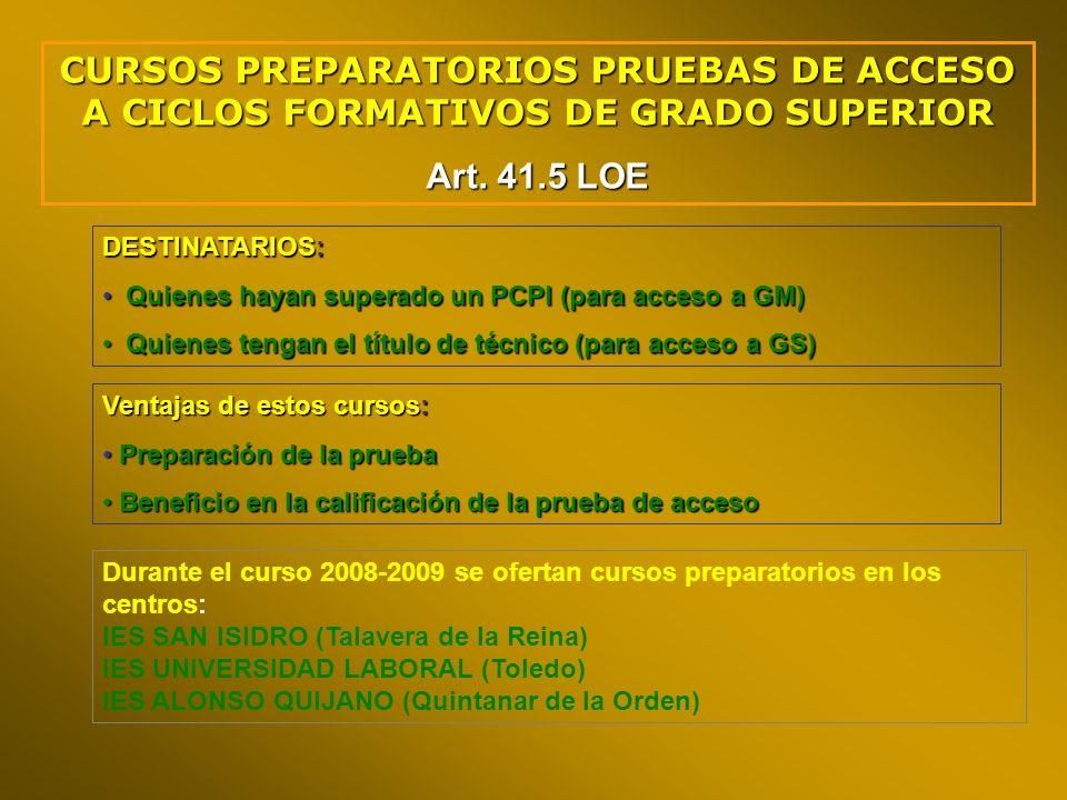 CURSOS PREPARATORIOS PRUEBAS DE ACCESO A CICLOS FORMATIVOS DE GRADO SUPERIOR