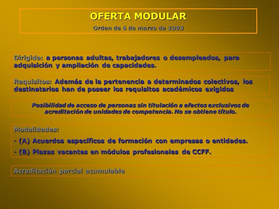 OFERTA MODULAROrden de 6 de marzo de 2003. Dirigida: a personas adultas, trabajadores o desempleados, para adquisición y ampliación de capacidades.