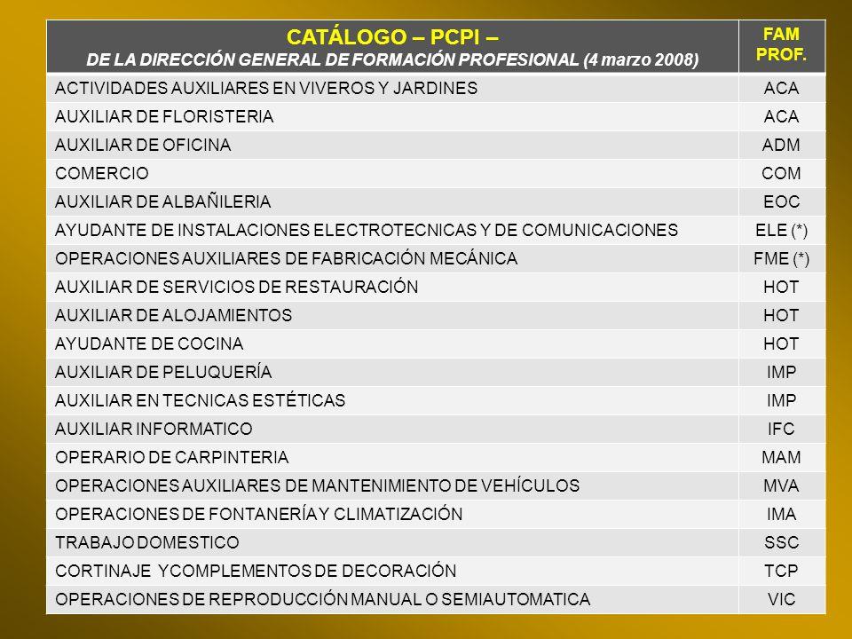 DE LA DIRECCIÓN GENERAL DE FORMACIÓN PROFESIONAL (4 marzo 2008)