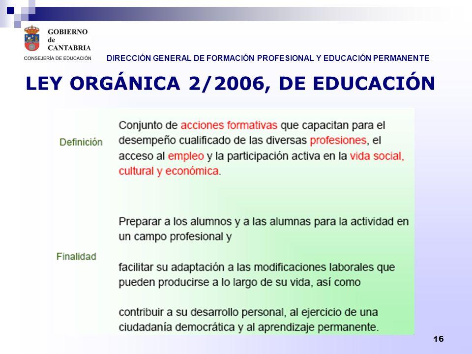 LEY ORGÁNICA 2/2006, DE EDUCACIÓN