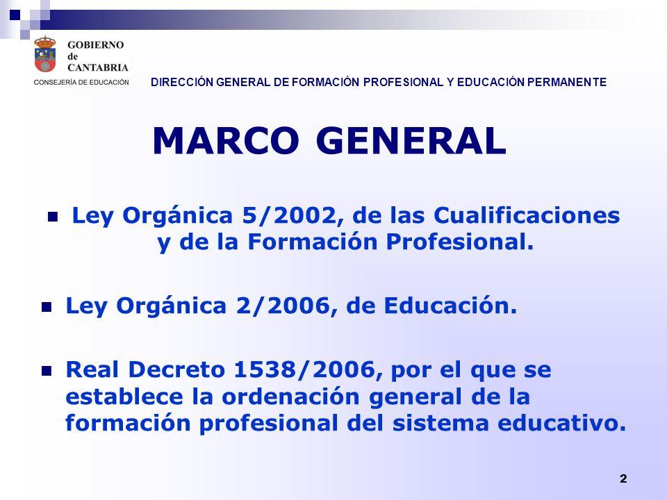 MARCO GENERAL Ley Orgánica 5/2002, de las Cualificaciones y de la Formación Profesional. Ley Orgánica 2/2006, de Educación.