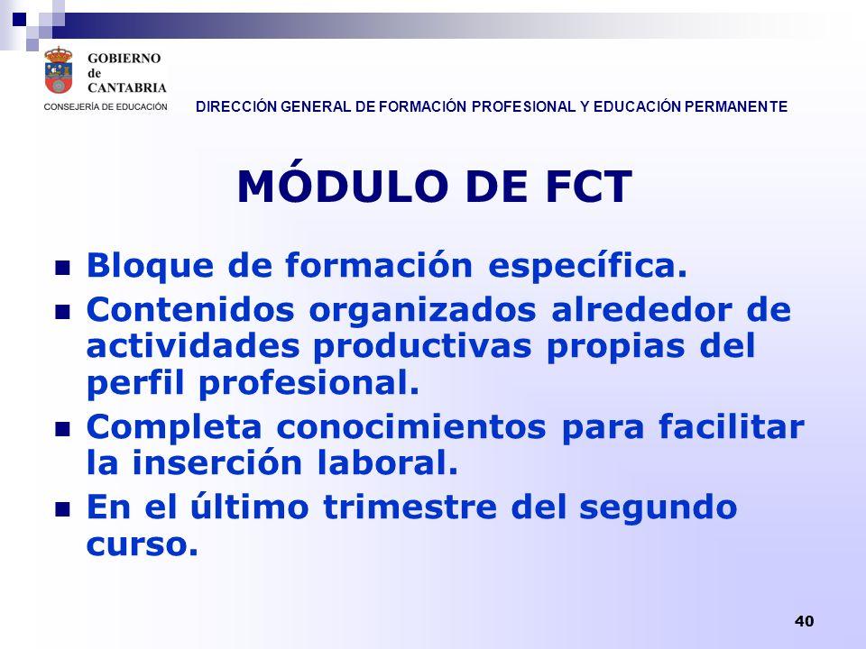 MÓDULO DE FCT Bloque de formación específica.