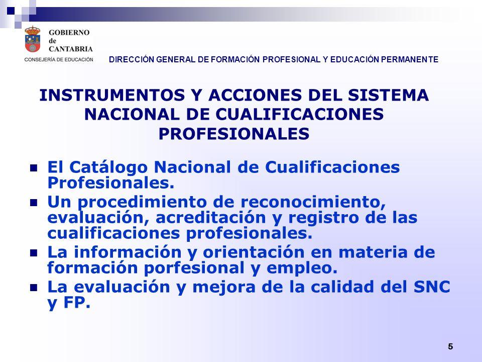 INSTRUMENTOS Y ACCIONES DEL SISTEMA NACIONAL DE CUALIFICACIONES PROFESIONALES
