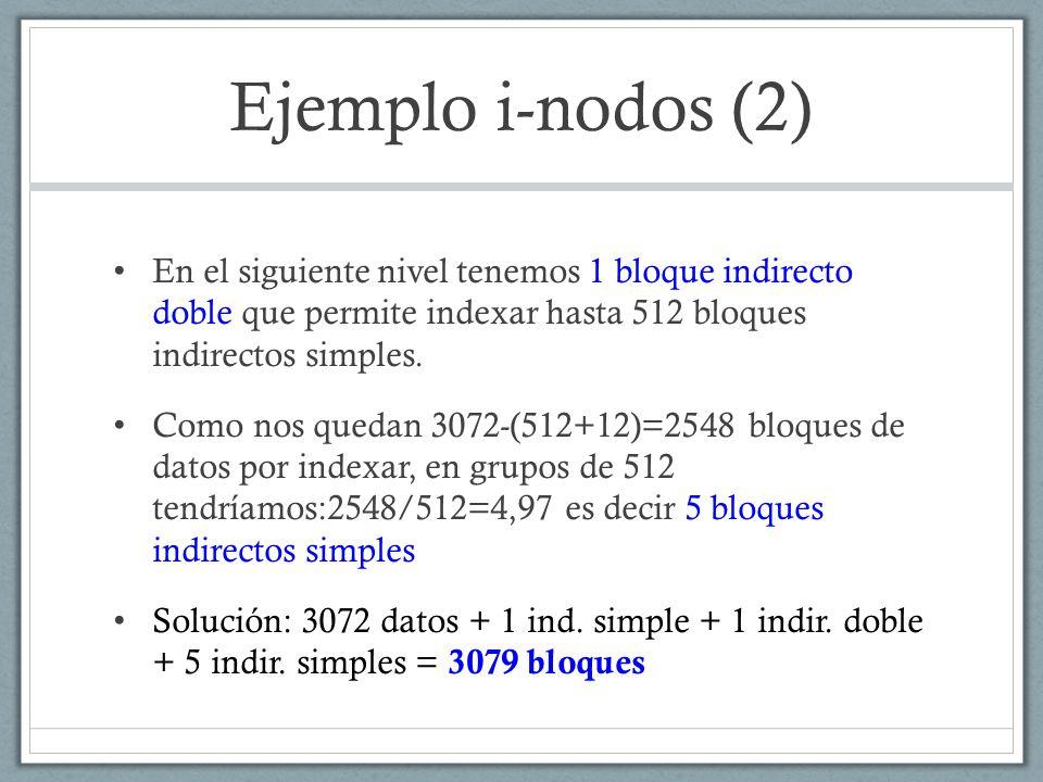 Ejemplo i-nodos (2) En el siguiente nivel tenemos 1 bloque indirecto doble que permite indexar hasta 512 bloques indirectos simples.