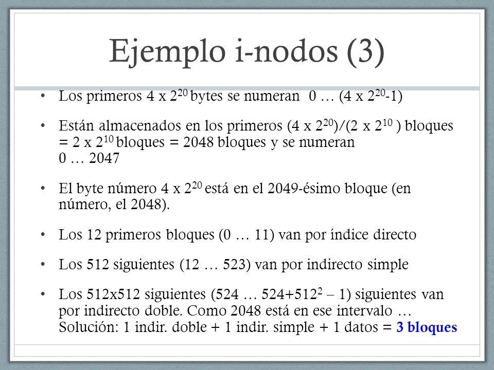Ejemplo i-nodos (3) Los primeros 4 x 220 bytes se numeran 0 … (4 x 220-1)