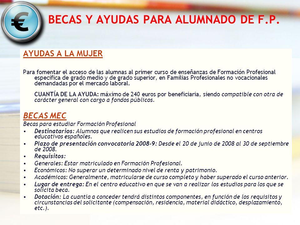 BECAS Y AYUDAS PARA ALUMNADO DE F.P.