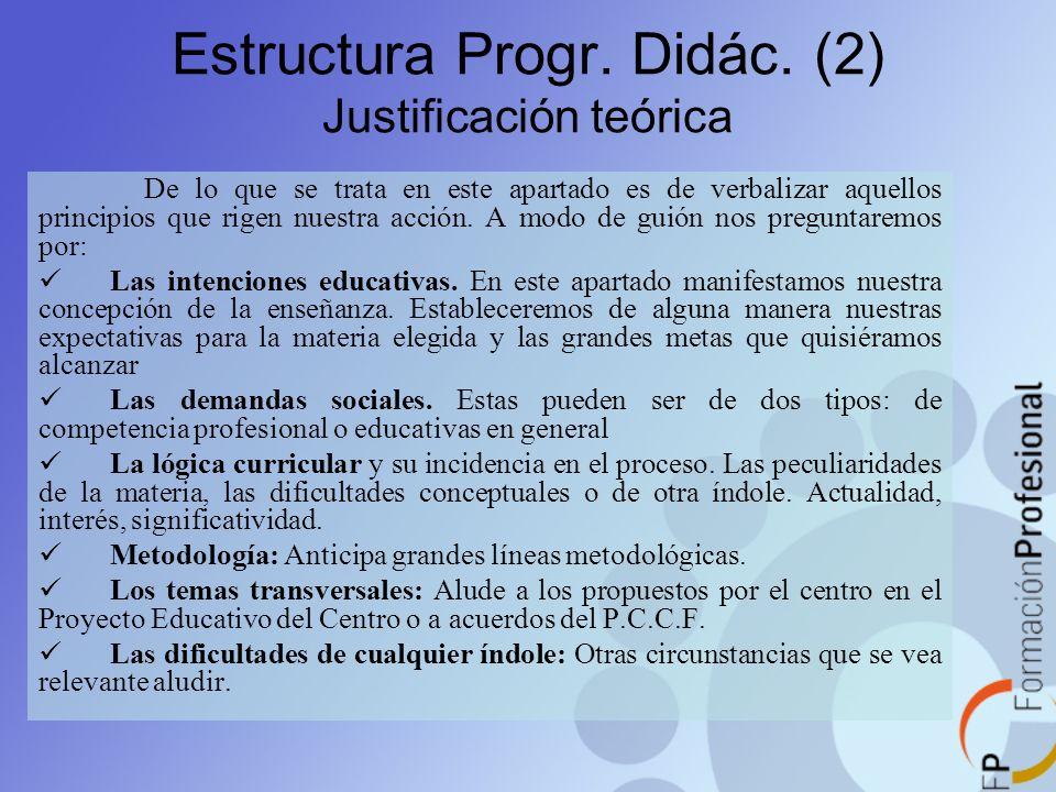 Estructura Progr. Didác. (2) Justificación teórica