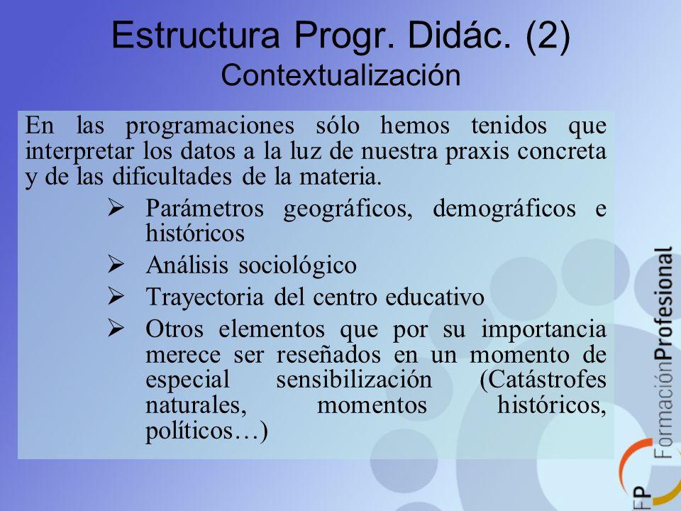 Estructura Progr. Didác. (2) Contextualización