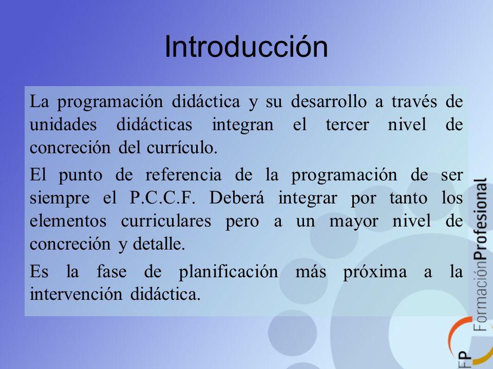 Introducción La programación didáctica y su desarrollo a través de unidades didácticas integran el tercer nivel de concreción del currículo.
