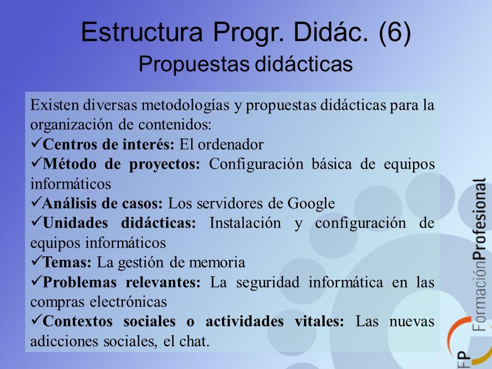 Estructura Progr. Didác. (6) Propuestas didácticas