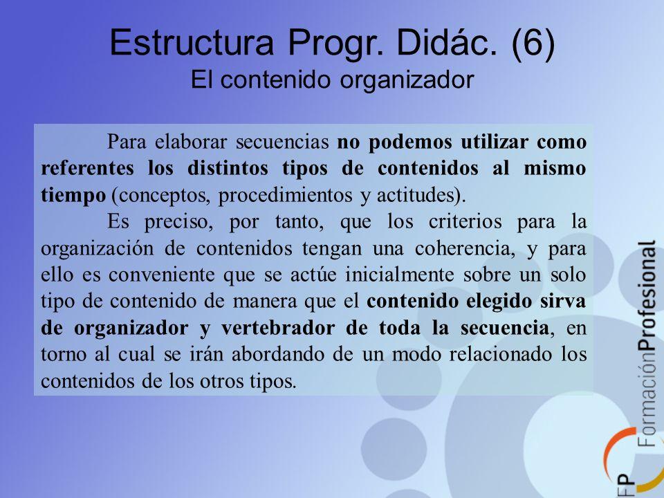 Estructura Progr. Didác. (6) El contenido organizador