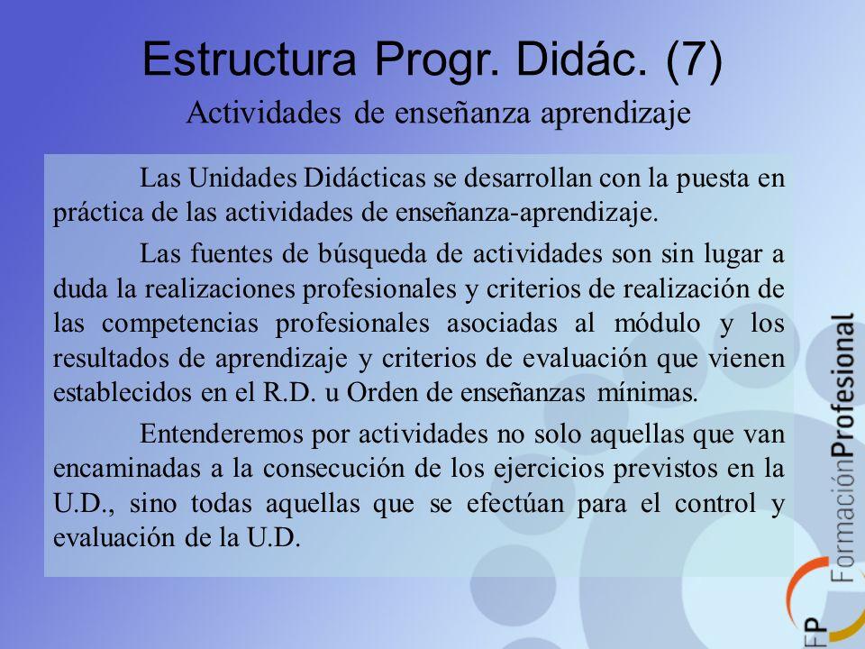 Estructura Progr. Didác. (7) Actividades de enseñanza aprendizaje