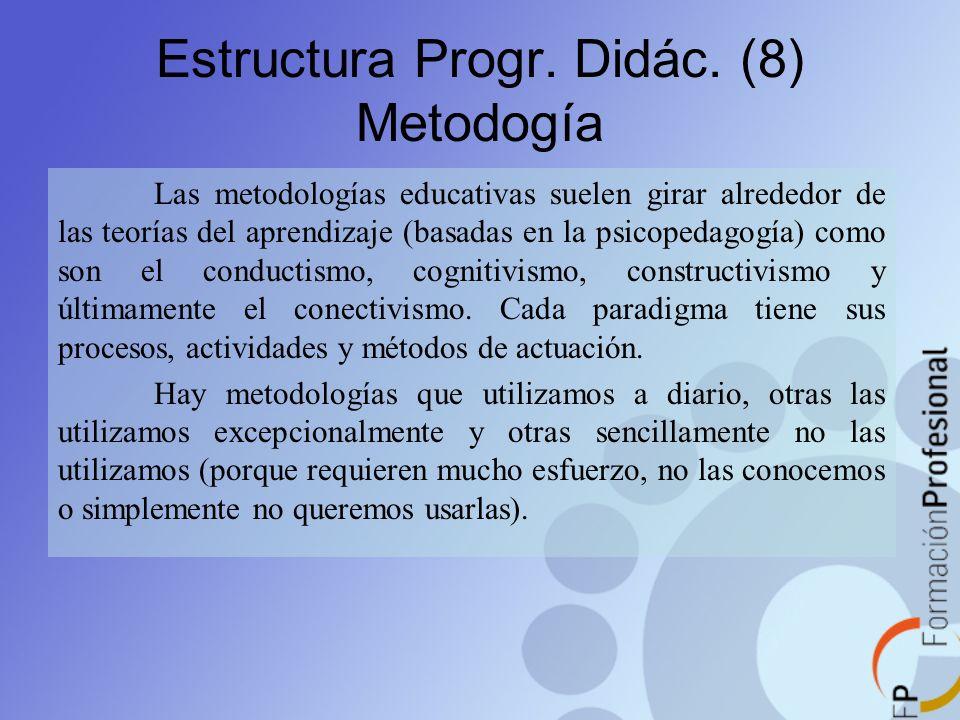 Estructura Progr. Didác. (8) Metodogía