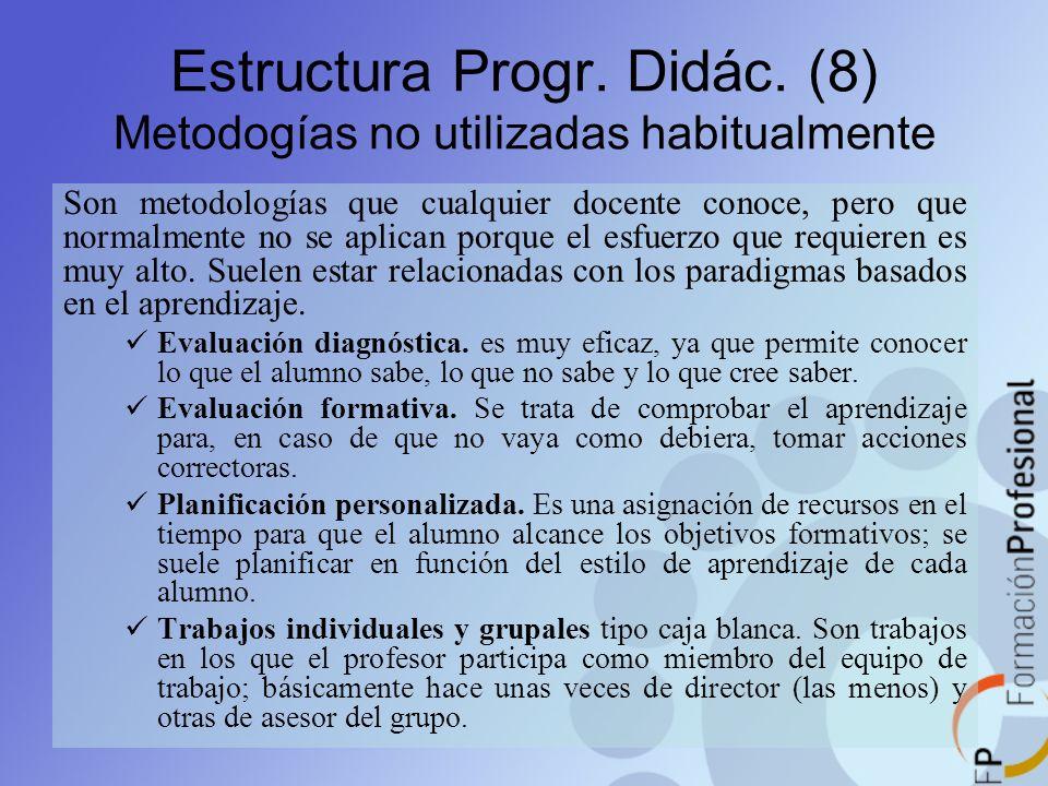 Estructura Progr. Didác. (8) Metodogías no utilizadas habitualmente