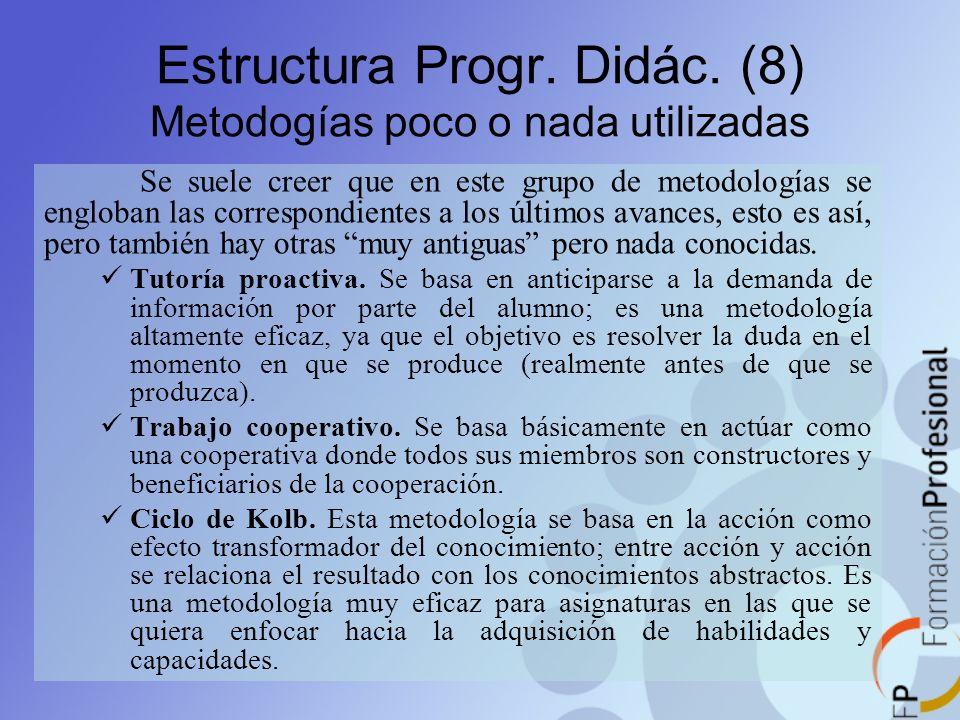 Estructura Progr. Didác. (8) Metodogías poco o nada utilizadas