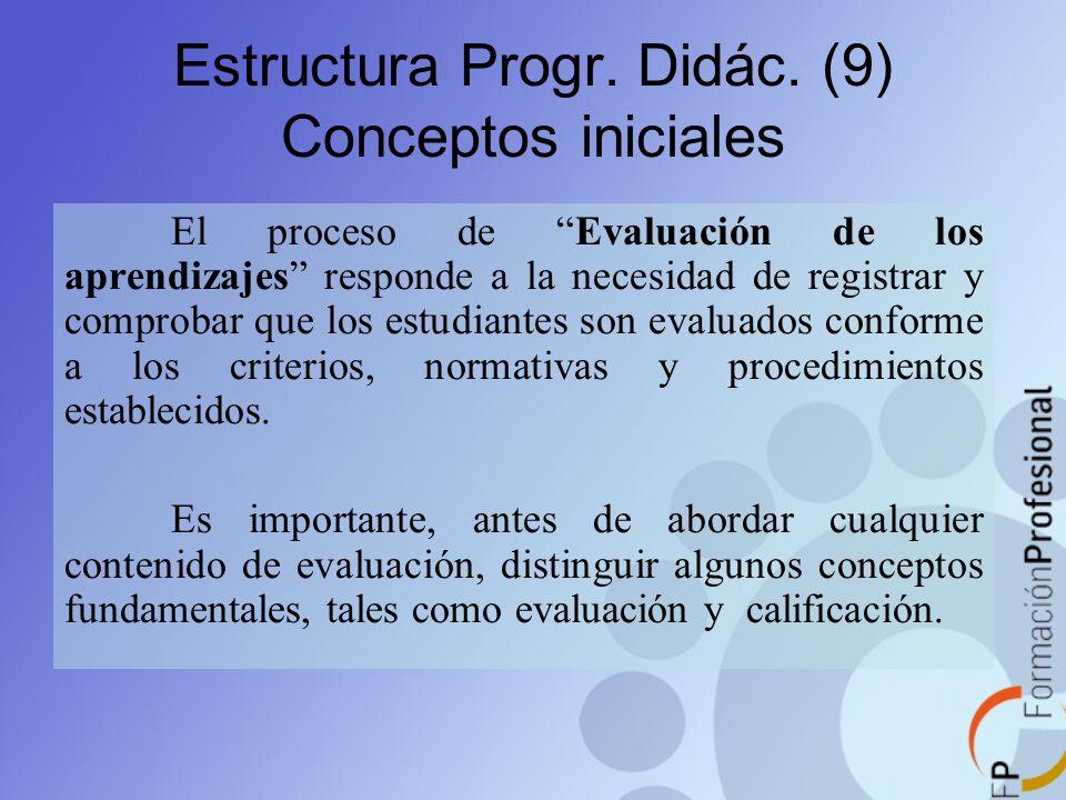 Estructura Progr. Didác. (9) Conceptos iniciales