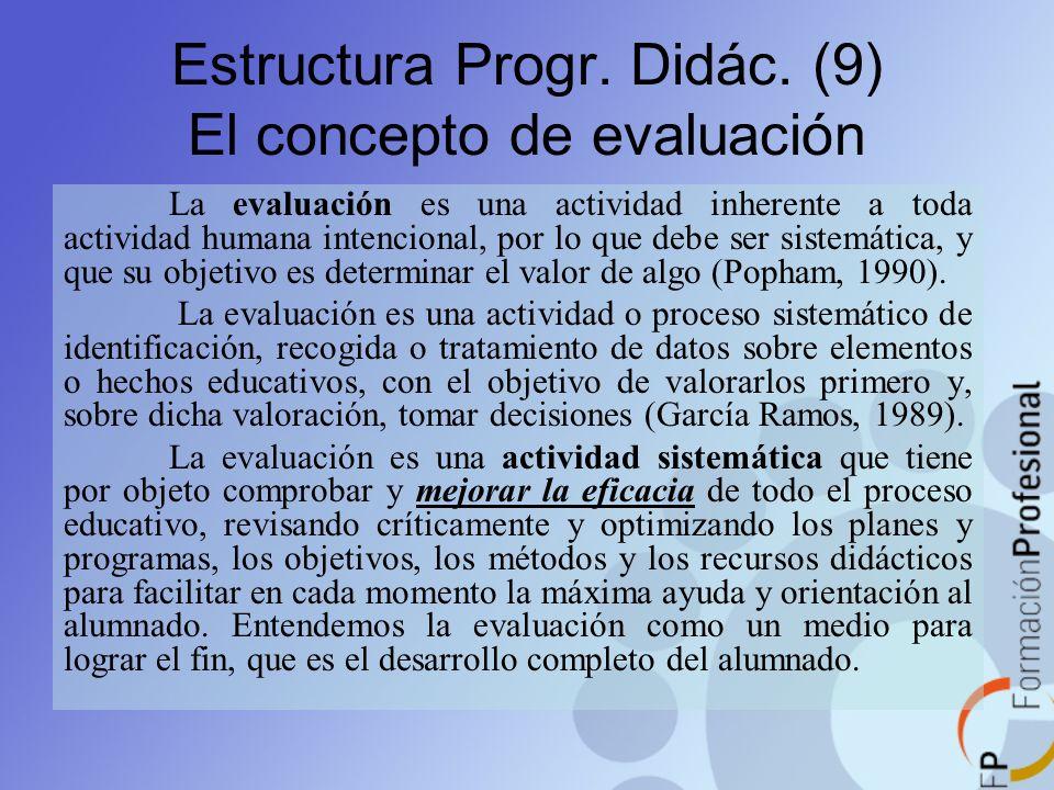 Estructura Progr. Didác. (9) El concepto de evaluación