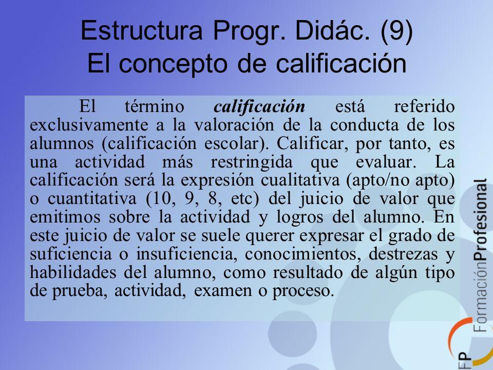 Estructura Progr. Didác. (9) El concepto de calificación