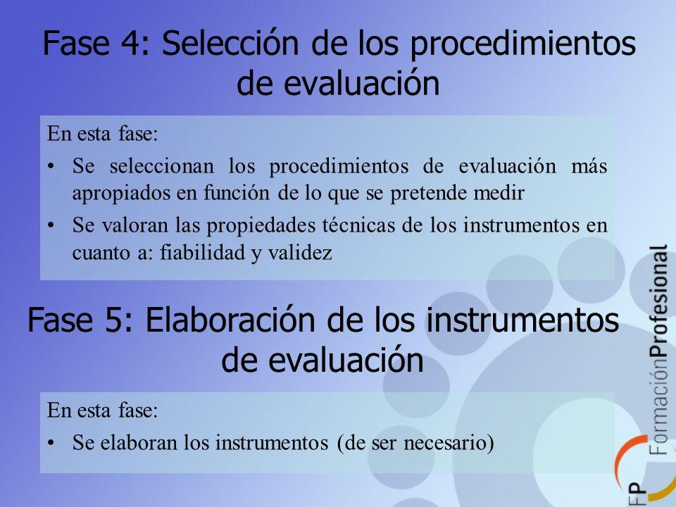 Fase 4: Selección de los procedimientos de evaluación