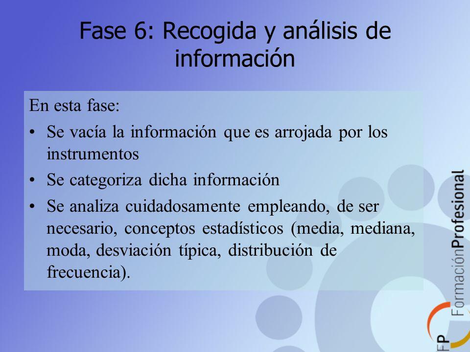 Fase 6: Recogida y análisis de información