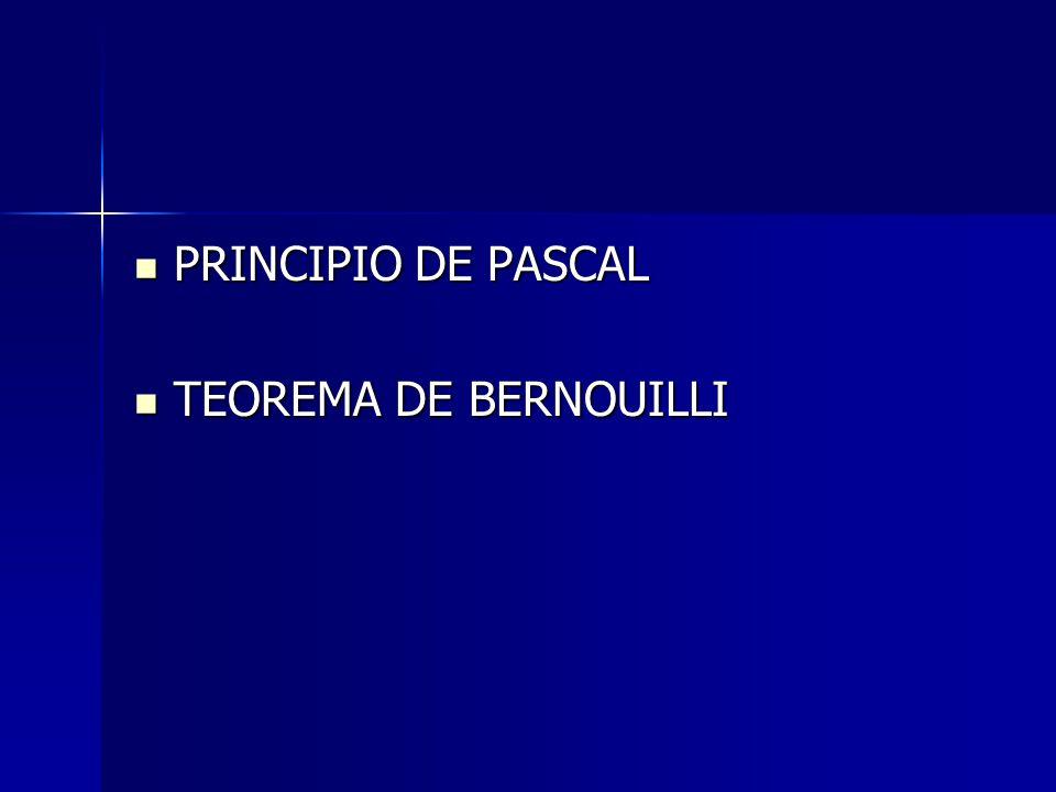 PRINCIPIO DE PASCAL TEOREMA DE BERNOUILLI