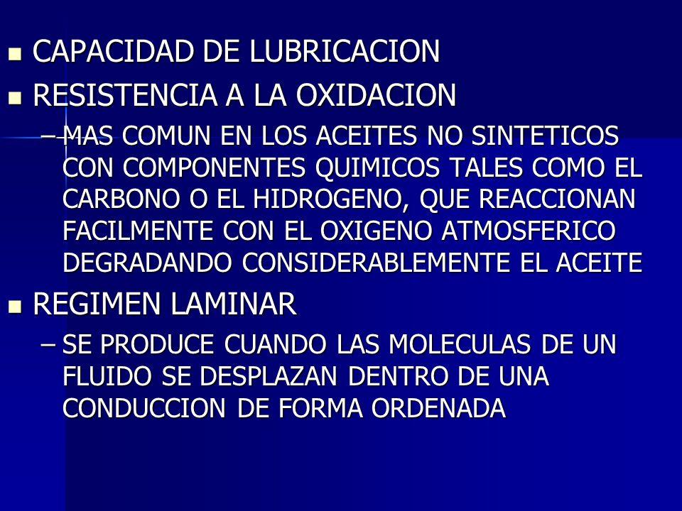 CAPACIDAD DE LUBRICACION RESISTENCIA A LA OXIDACION