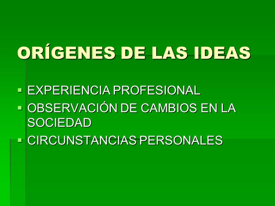 ORÍGENES DE LAS IDEAS EXPERIENCIA PROFESIONAL