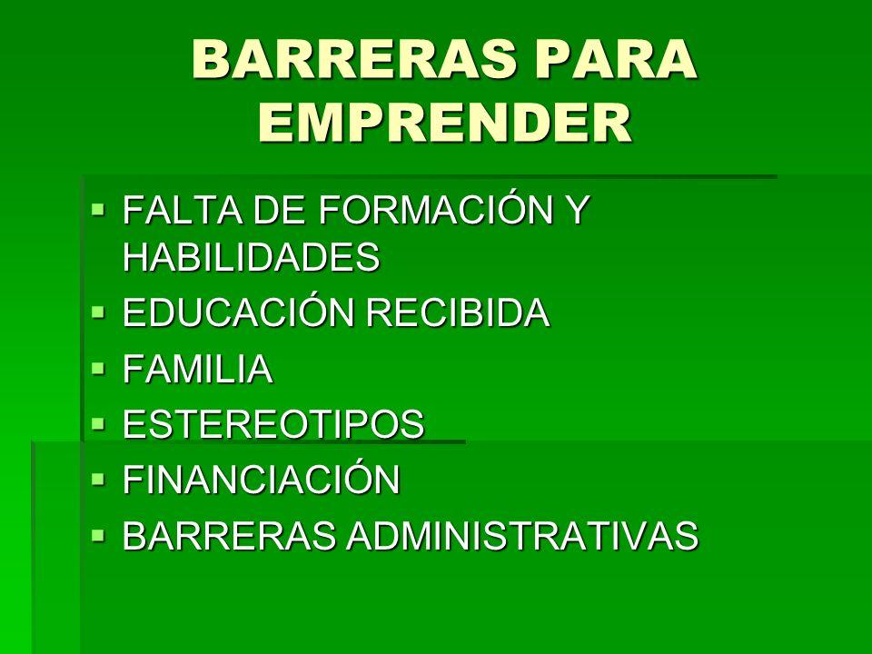 BARRERAS PARA EMPRENDER