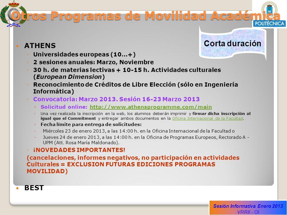 Otros Programas de Movilidad Académica