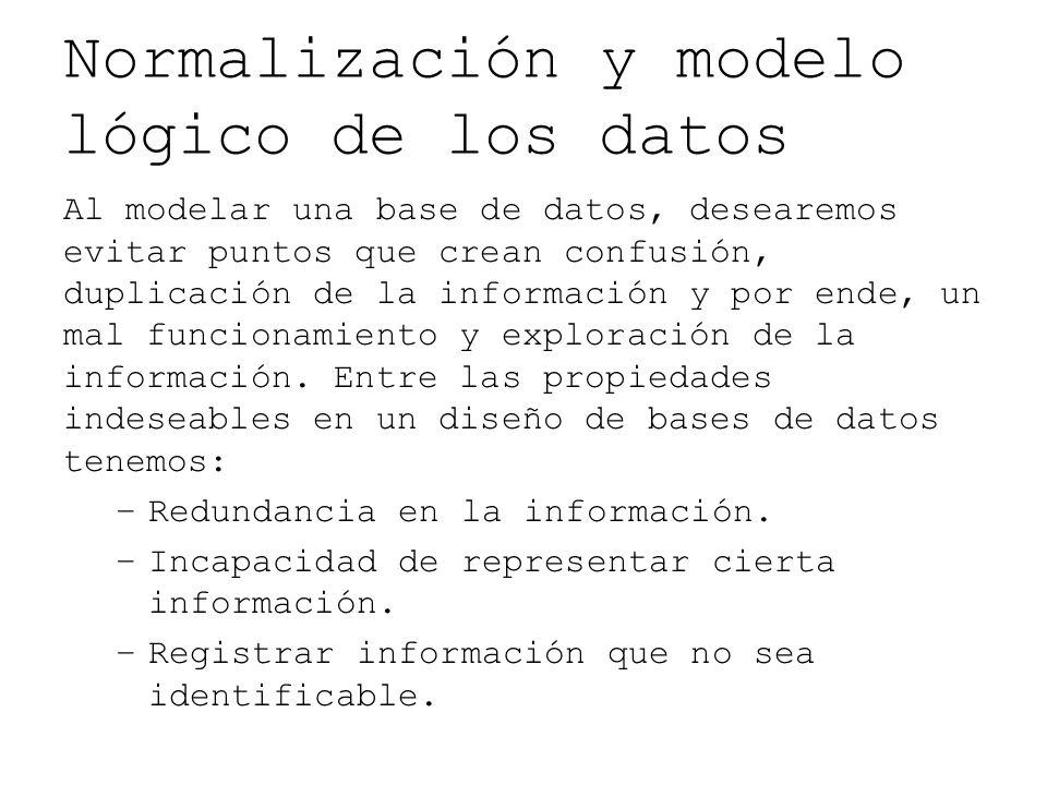 Normalización y modelo lógico de los datos