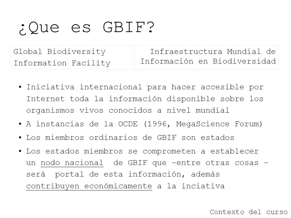 ¿Que es GBIF Global Biodiversity Information Facility