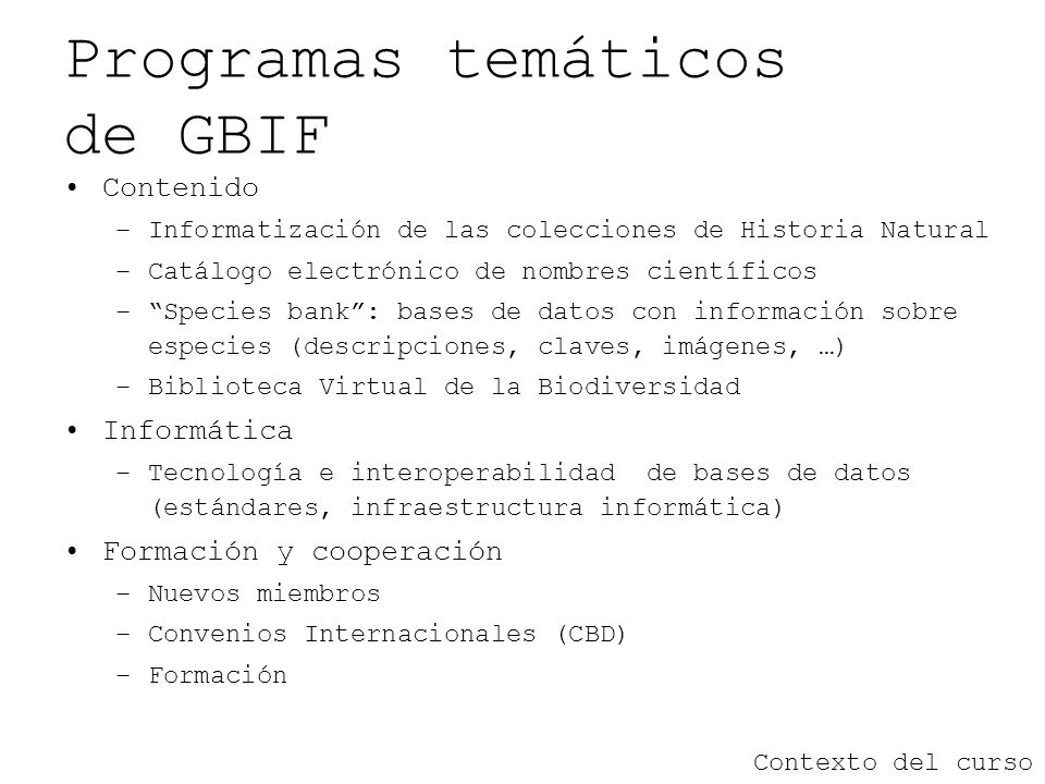Programas temáticos de GBIF
