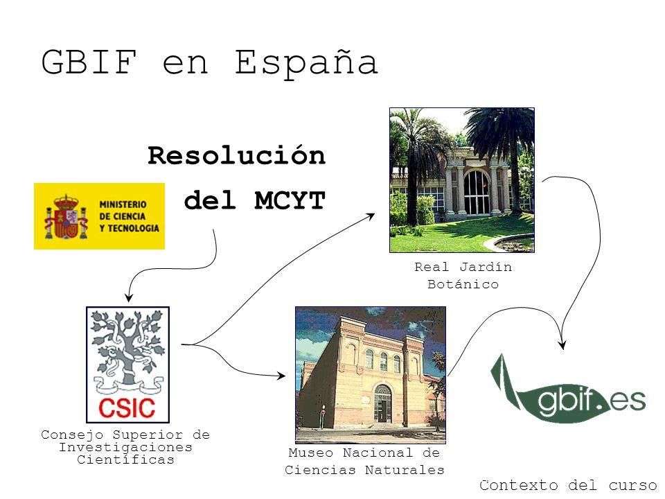 GBIF en España Resolución del MCYT Contexto del curso