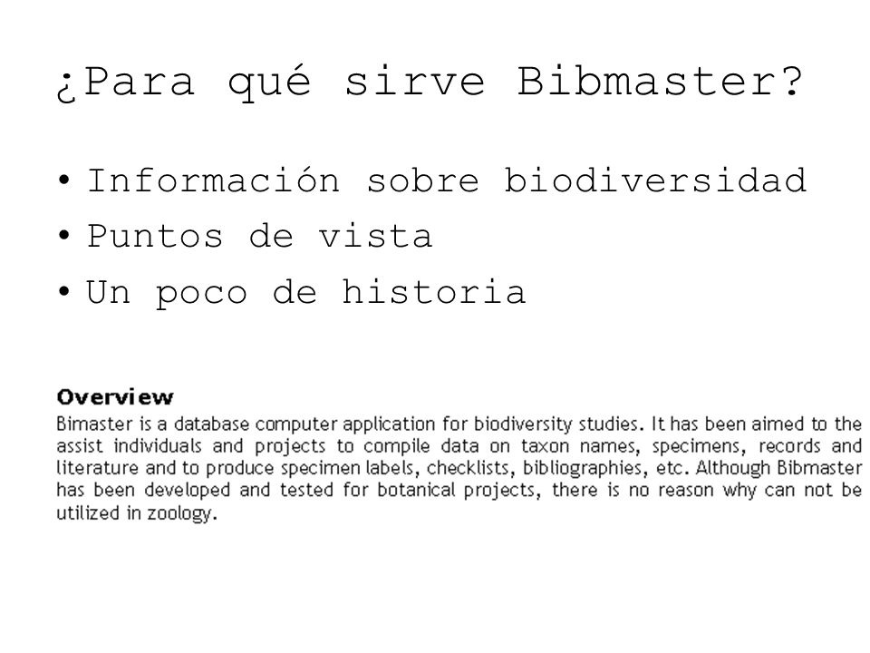 ¿Para qué sirve Bibmaster