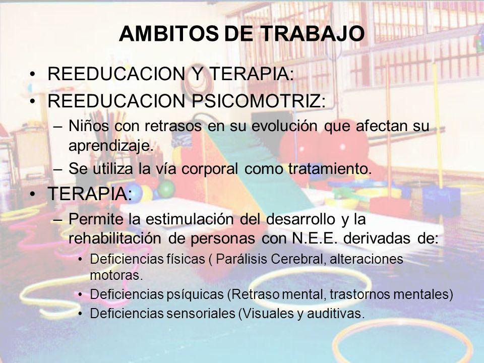 AMBITOS DE TRABAJO REEDUCACION Y TERAPIA: REEDUCACION PSICOMOTRIZ: