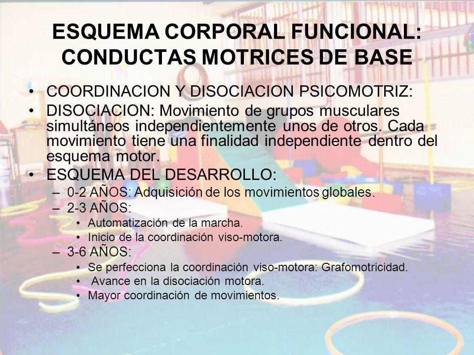 ESQUEMA CORPORAL FUNCIONAL: CONDUCTAS MOTRICES DE BASE