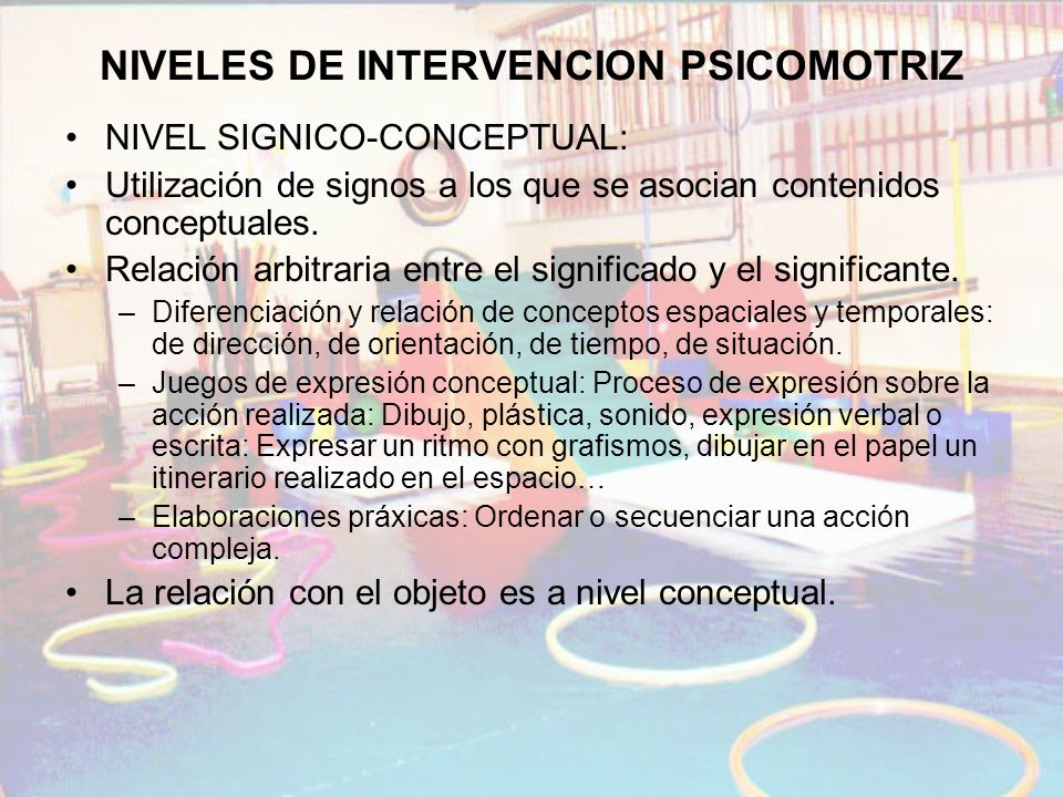 NIVELES DE INTERVENCION PSICOMOTRIZ