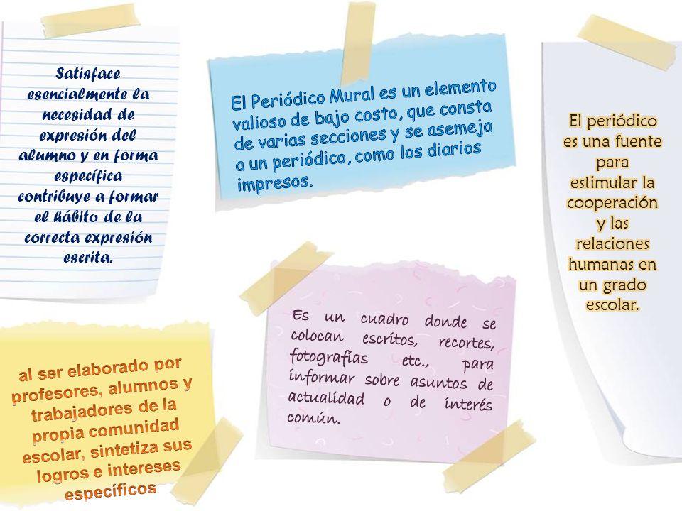 Peri dico mural periodico escolar yudy casanova rosero for El periodico mural y sus secciones