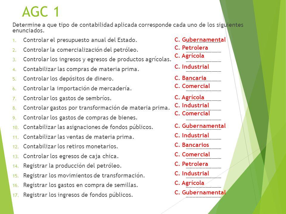 AGC 1 Determine a que tipo de contabilidad aplicada corresponde cada uno de los siguientes enunciados.
