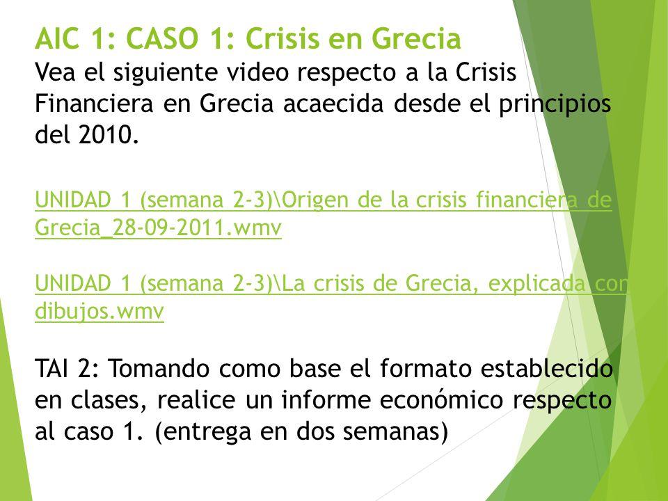 AIC 1: CASO 1: Crisis en Grecia Vea el siguiente video respecto a la Crisis Financiera en Grecia acaecida desde el principios del 2010.